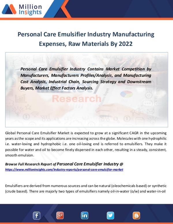 Market Revenue Personal Care Emulsifier Industry Forecast 2022