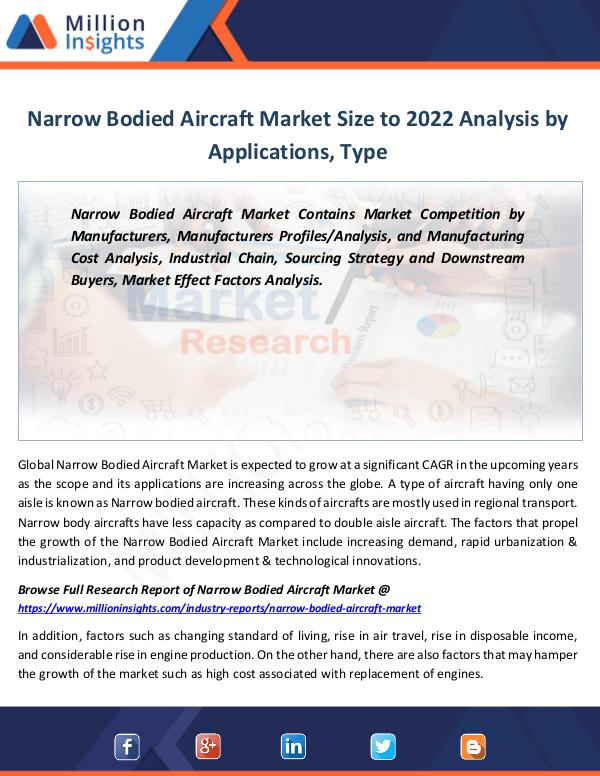 Market Revenue Narrow Bodied Aircraft Market Size to 2022