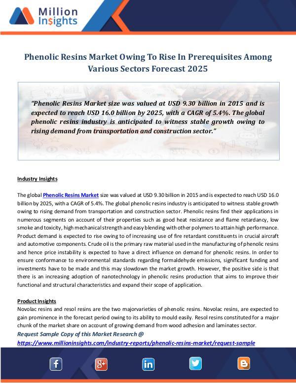 Market Revenue Phenolic Resins Market Sales, Size, Share