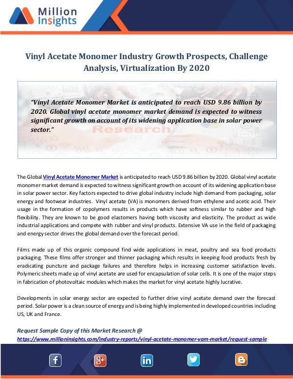 Market Revenue Vinyl Acetate Monomer Industry Growth Prospects