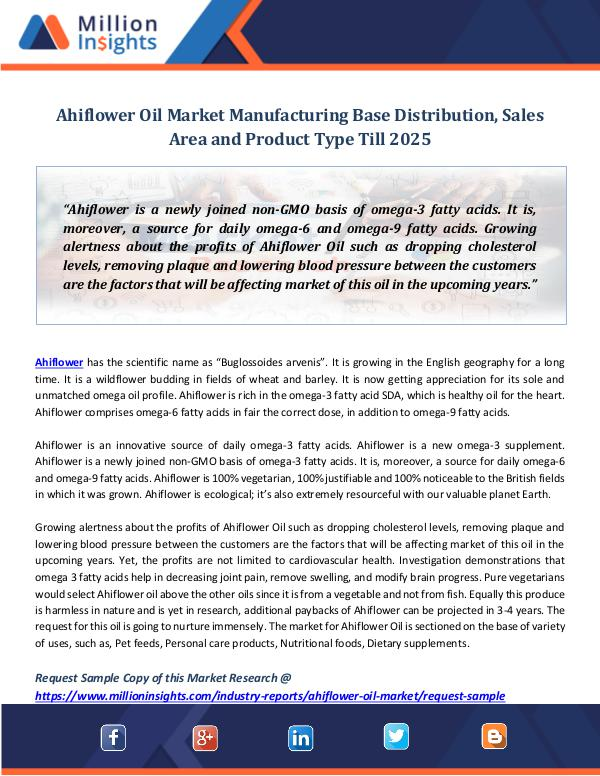 Market Revenue Ahiflower Oil Market Manufacturing Base