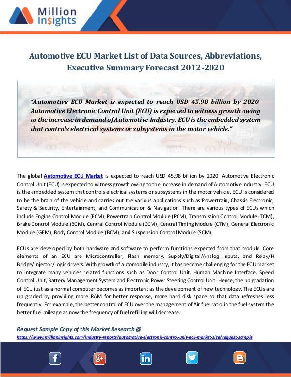 Market Revenue Automotive ECU Market List of Data Sources