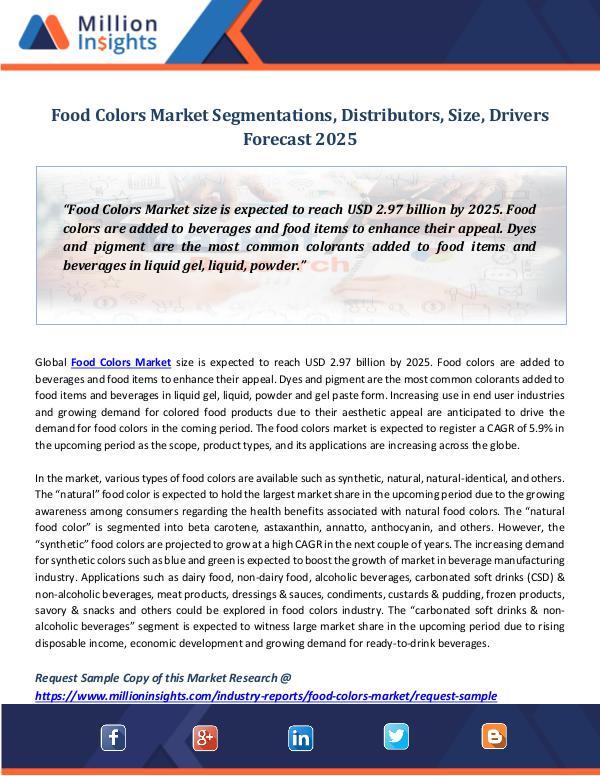 Market Revenue Food Colors Market Segmentations, Distributors