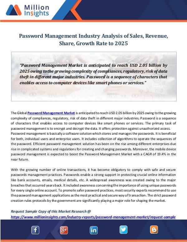 Market Revenue Password Management Industry Analysis of Sales
