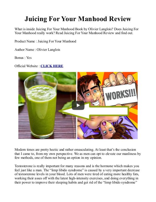 Juicing For Your Manhood PDF / Recipes Book Free Download Juicing Recipes To Boost Testosterone