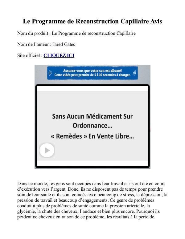 Le Programme de Reconstruction Capillaire PDF Gratuit Jared Gates Livre Avis