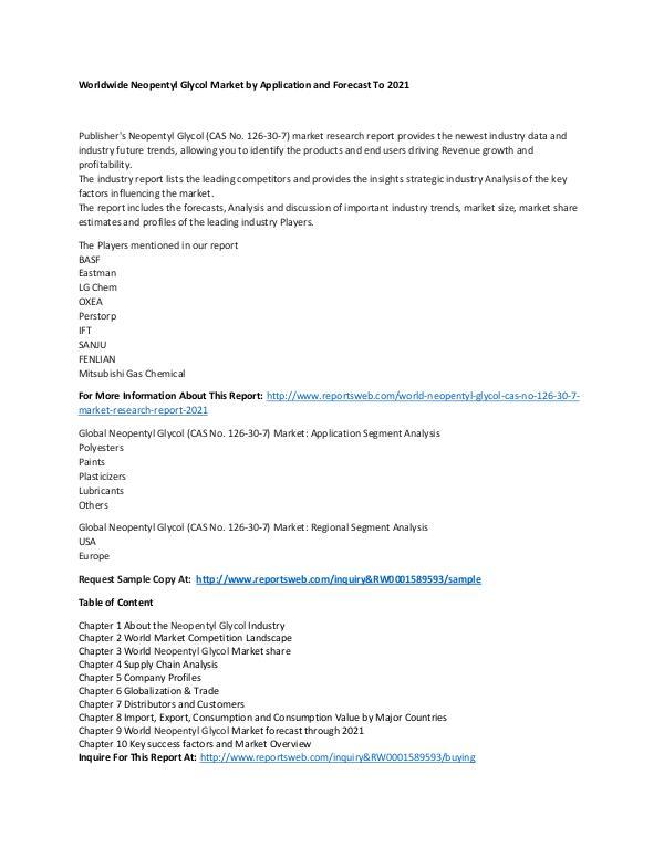 Market Research Update World Neopentyl Glycol (CAS No. 126-30-7) Market R