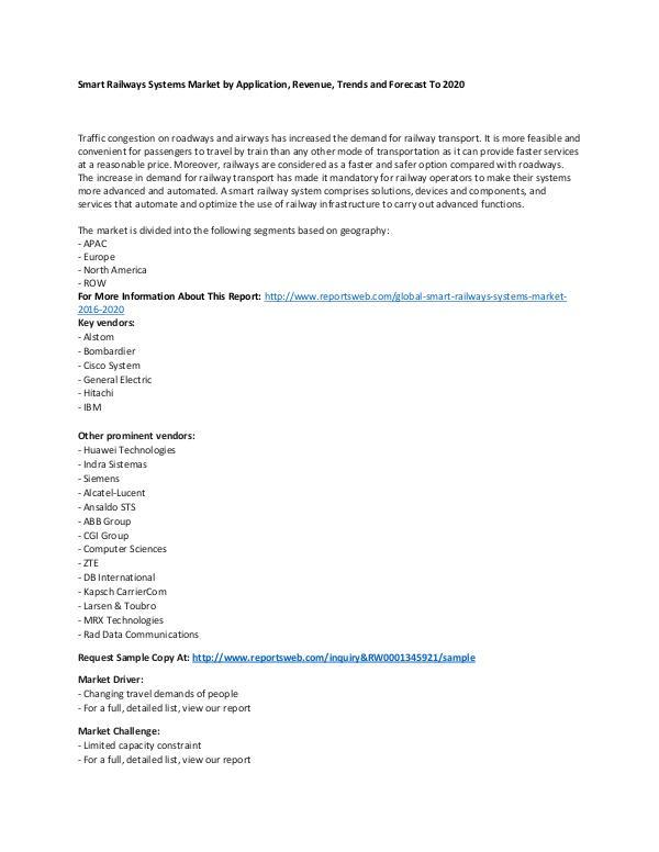 Market Research Update Global Smart Railways Systems Market 2016-2020
