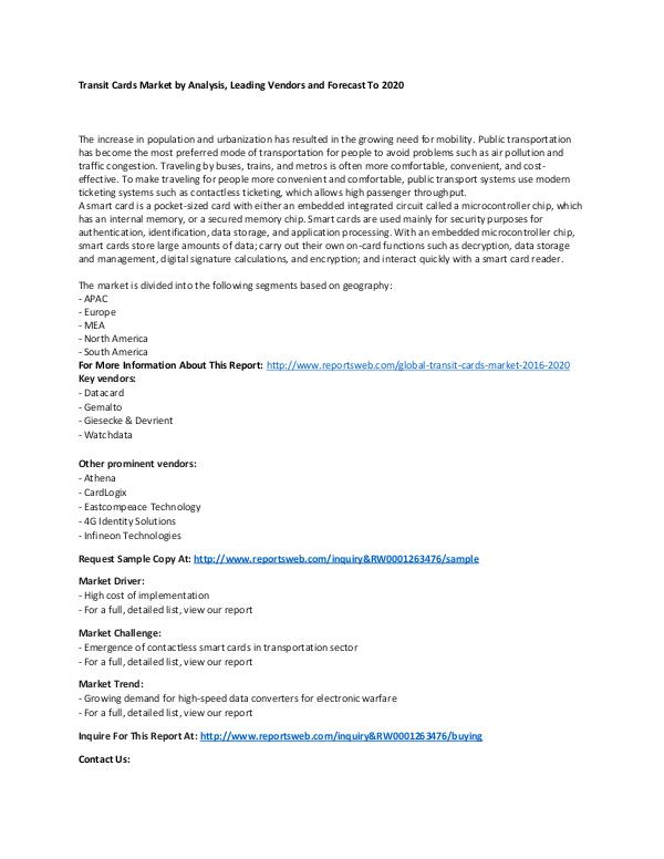 Market Research Update Global Transit Cards Market 2016-2020
