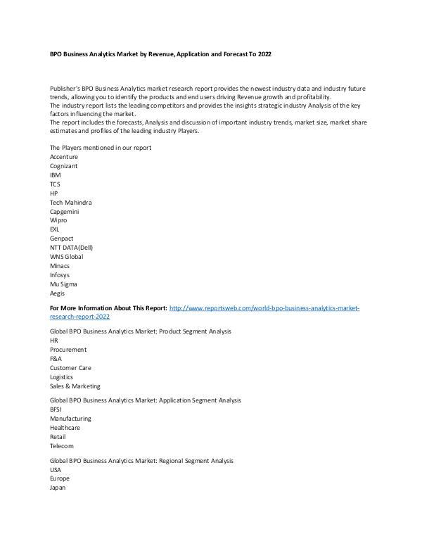 Market Research Update World BPO Business Analytics Market Research Repor