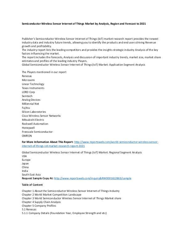 Market Research Update World Semiconductor Wireless Sensor Internet of Th
