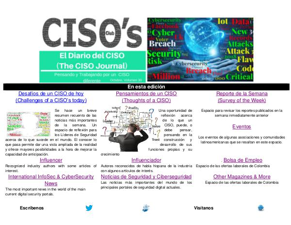El Diario del CISO El Diario del CISO (The CISO Journal) Edición 30