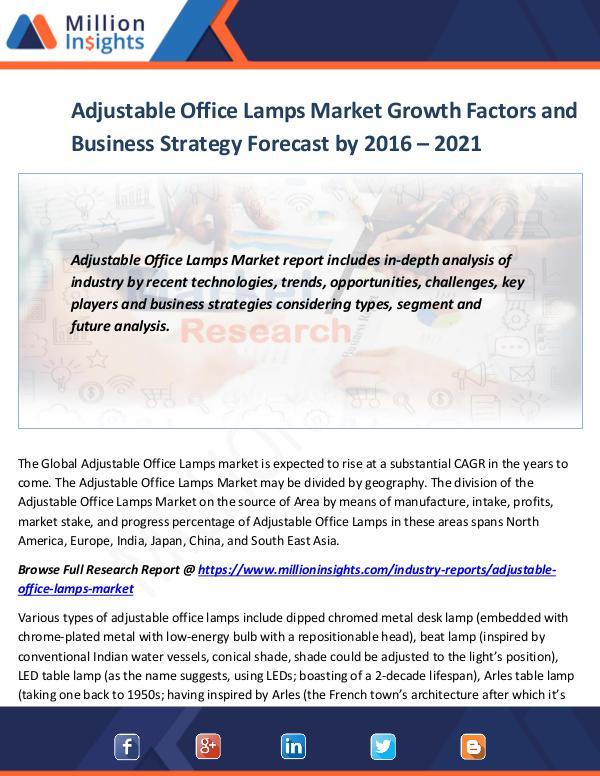 Market World Adjustable Office Lamps Market