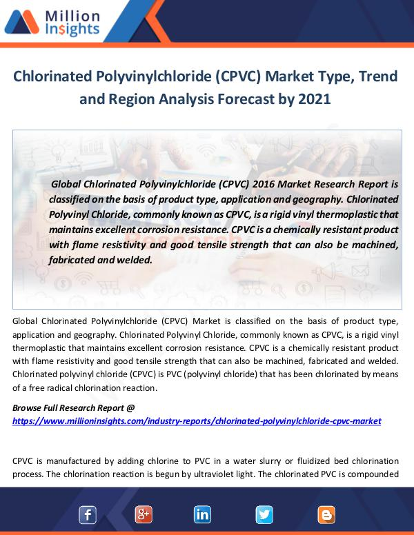 Chlorinated Polyvinylchloride (CPVC) Market