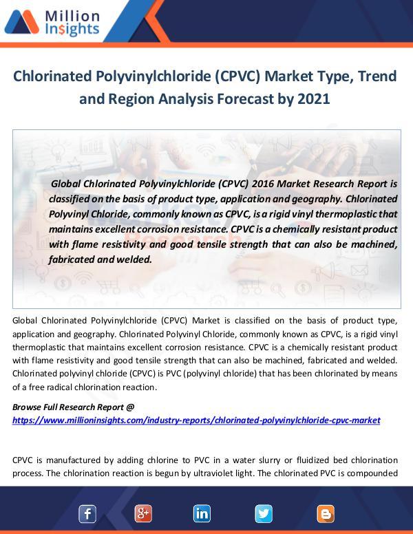 Market World Chlorinated Polyvinylchloride (CPVC) Market