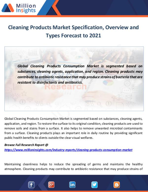 Cleaning Products Consumption Market