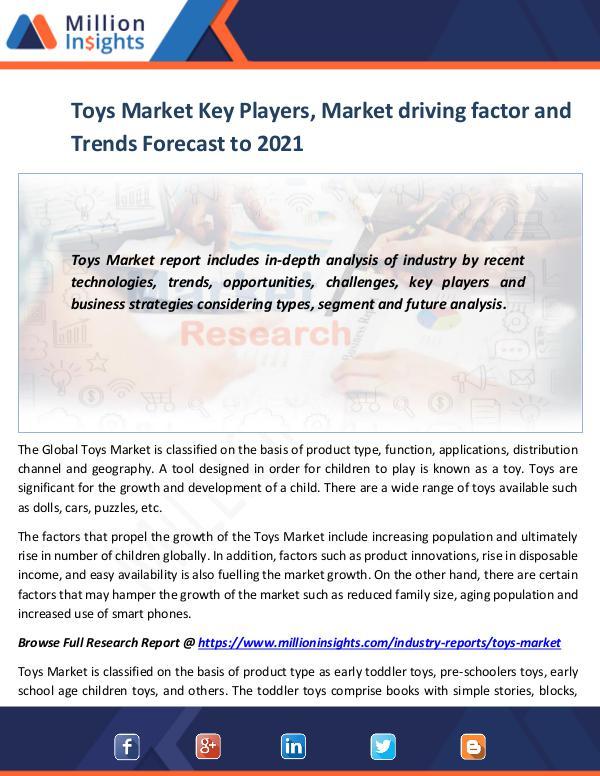 Toys Market Key Players, Market