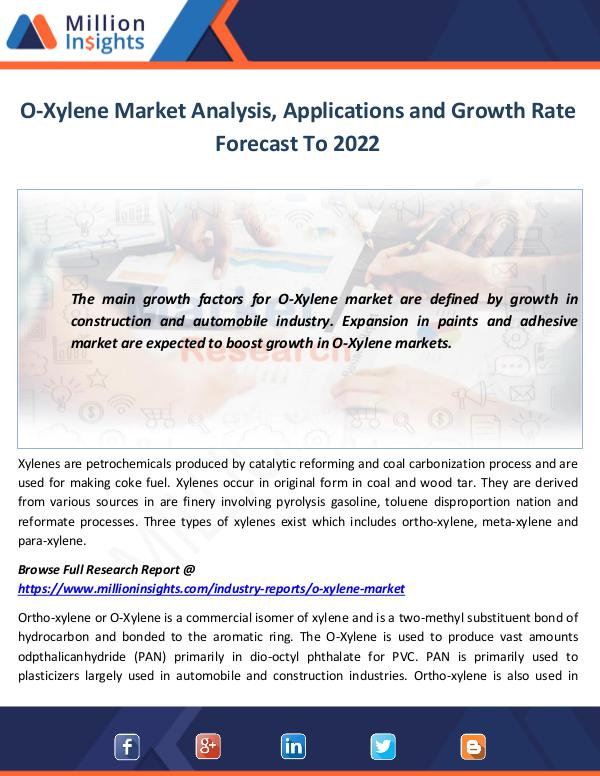 Market World O-Xylene Market Analysis