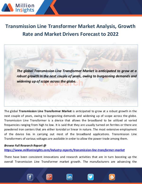 Transmission Line Transformer Market Analysis