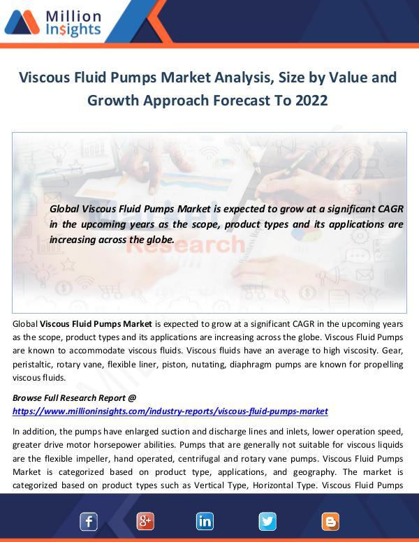 Viscous Fluid Pumps Market Analysis