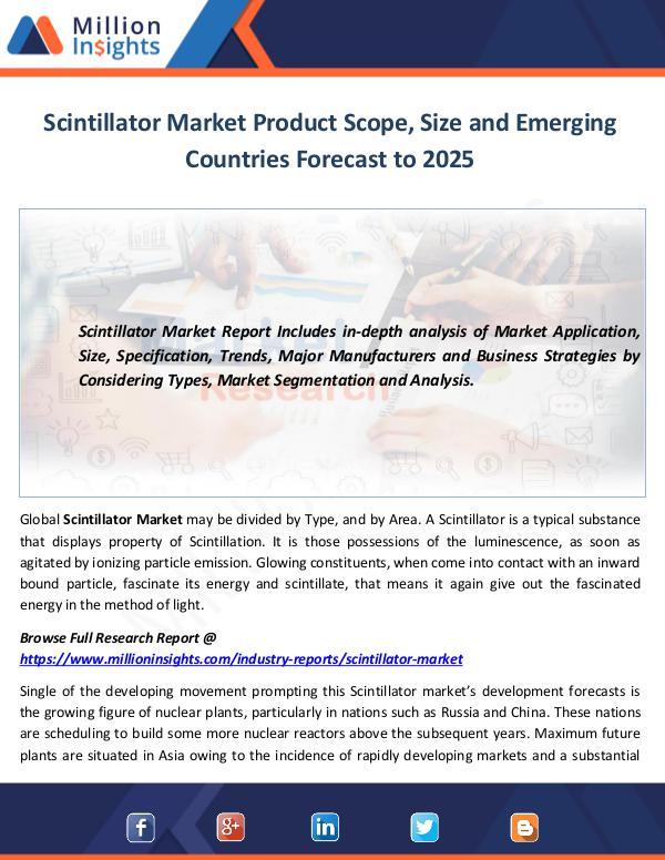 Scintillator Market Product Scope, Size and Emergi
