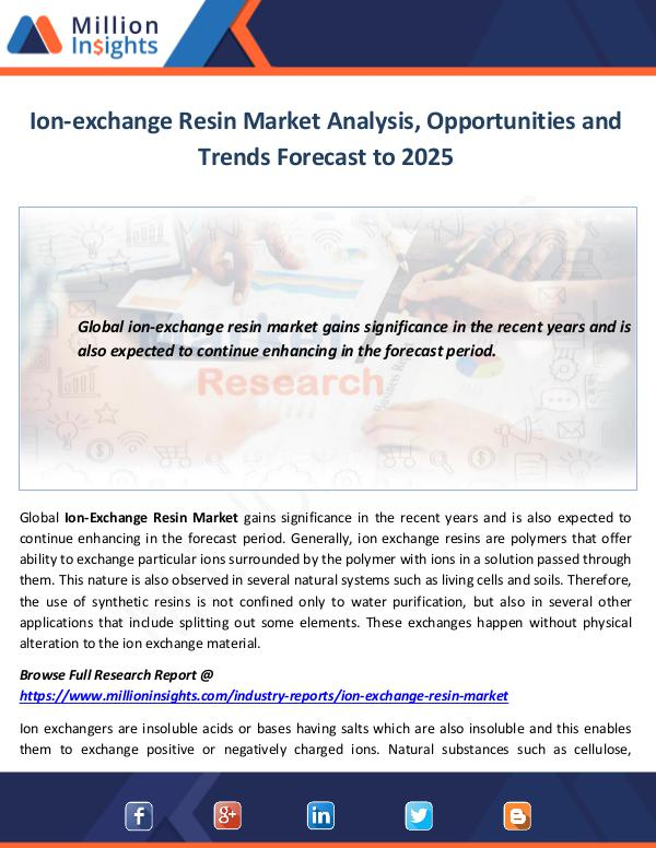 Market World Ion-exchange Resin Market Analysis