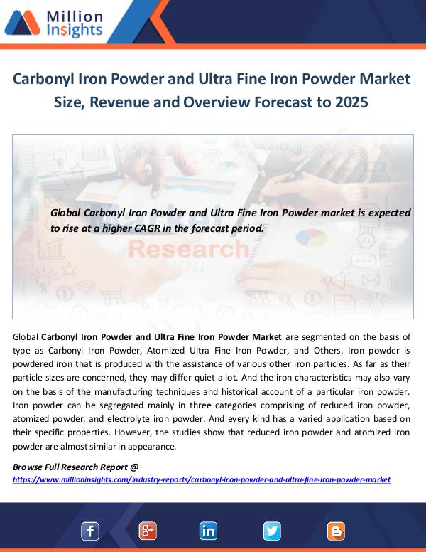 Carbonyl Iron Powder and Ultra Fine Iron Powder