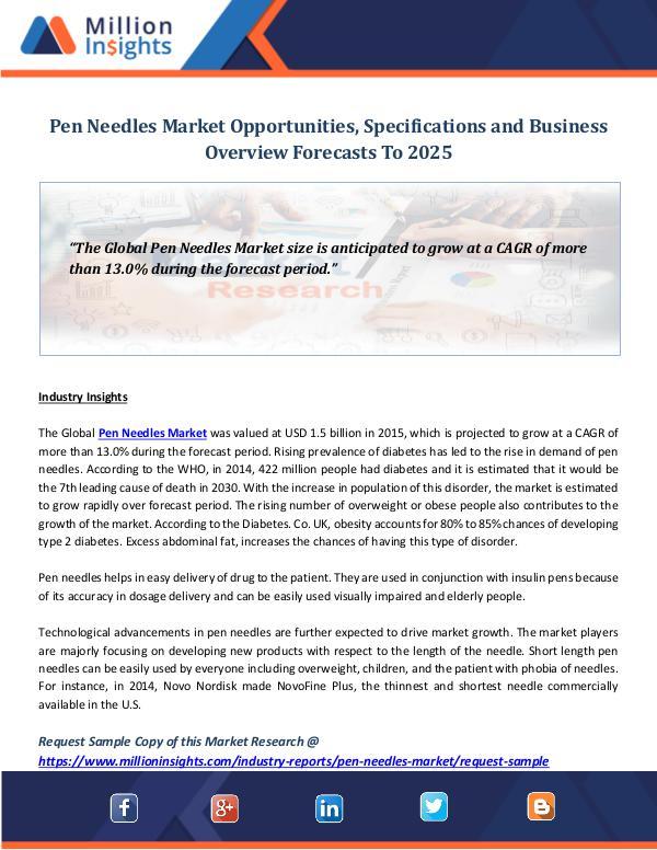 Pen Needles Market Opportunities