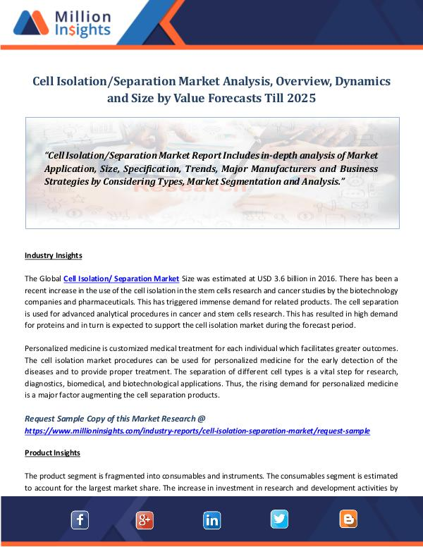 Market World Cell Isolation Separation Market Analysis