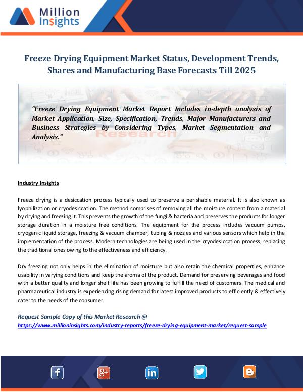 Freeze Drying Equipment Market Status