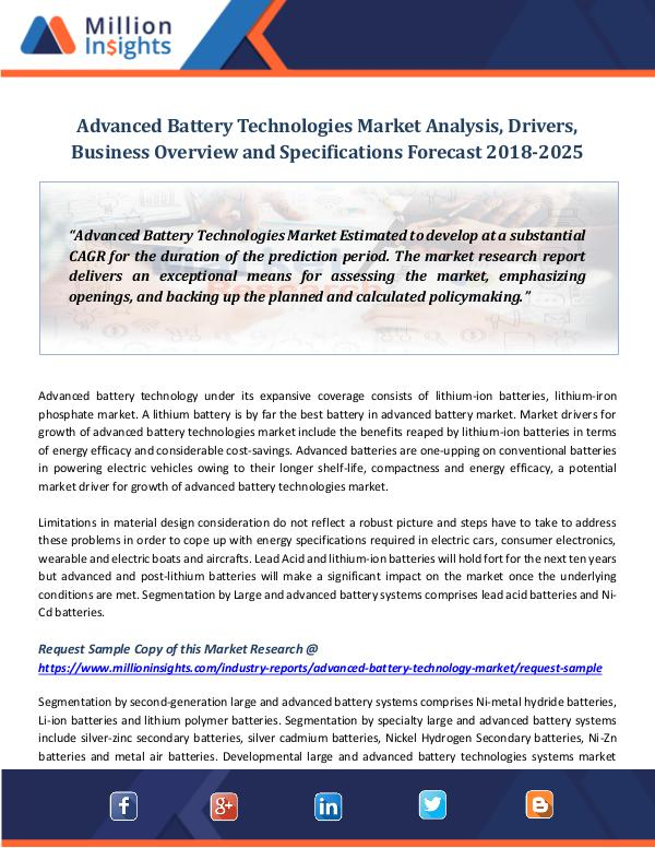 Advanced Battery Technologies Market Analysis