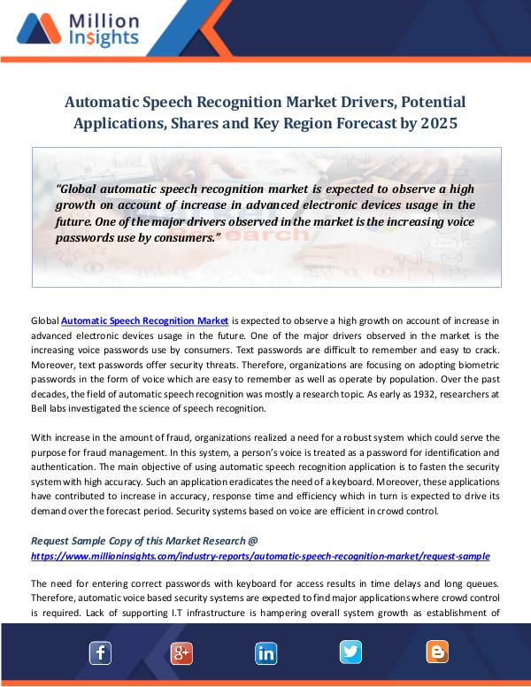 Automatic Speech Recognition Market Drivers