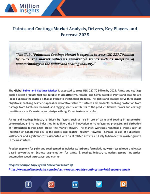 Market World Paints and Coatings Market Analysis