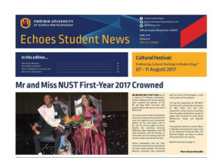 Student newspaper, Echoes June 2017