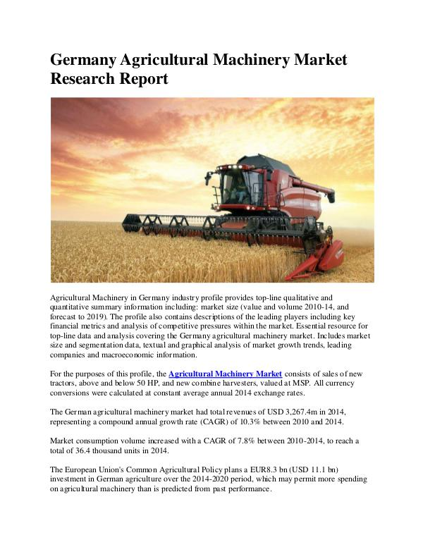 Ken Research - Germany Agricultural Machinery Market Research Rep