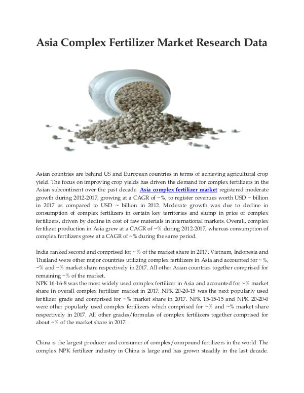 Ken Research - Asia Complex Fertilizer Market Research Data