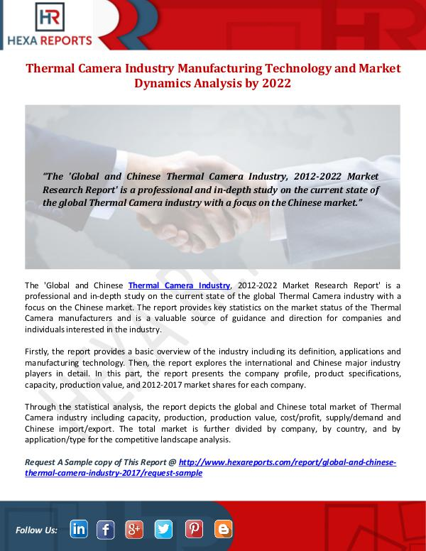 Hexa Reports Thermal Camera Industry Share, Manufacturing Techn