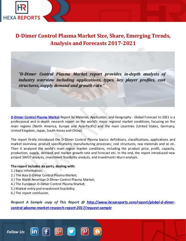 D-Dimer Control Plasma Market Size, Share, Emergin