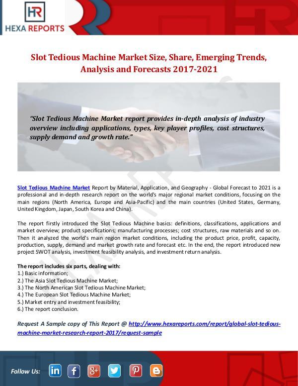 Slot Tedious Machine Market Size, Share, Emerging