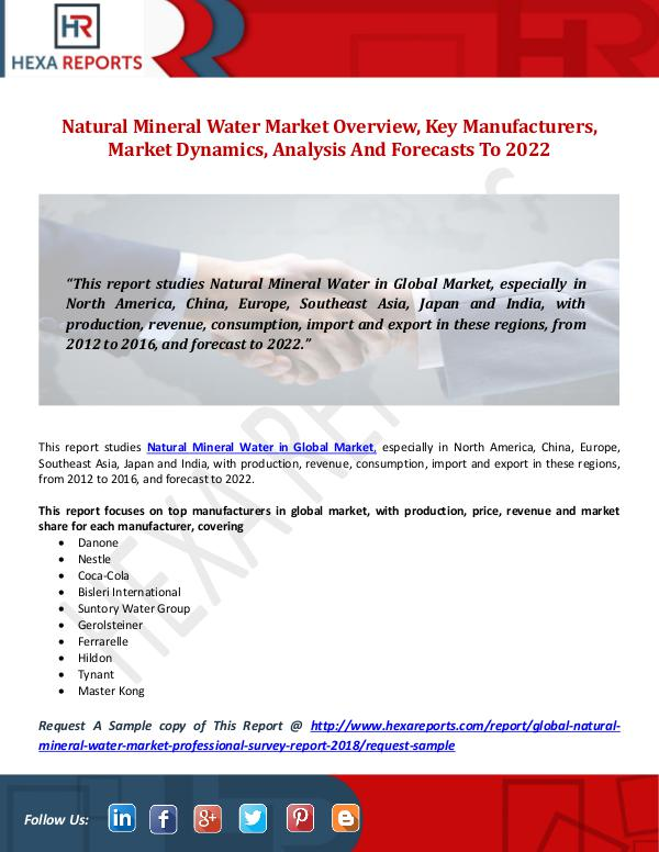 Hexa Reports Natural Mineral Water Market Overview, Key Manufac