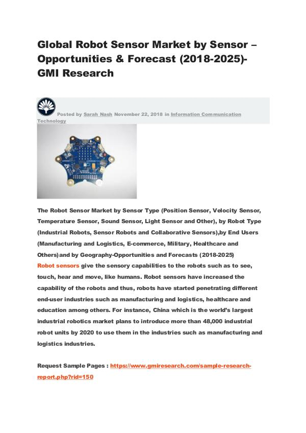 Global Robot Sensor Market by Sensor – Opportunities & Forecast Global Robot Sensor Market by Sensor