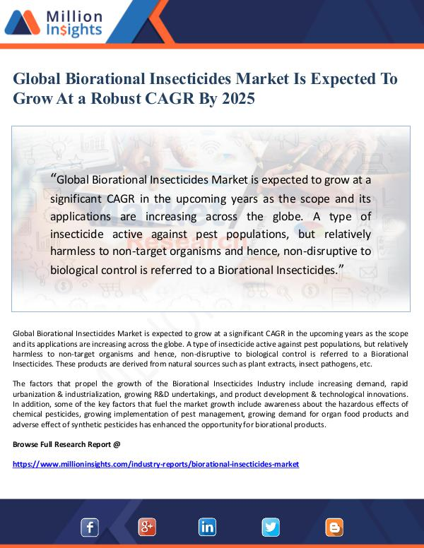 Market Giant Global Biorational Insecticides Market Is Expected