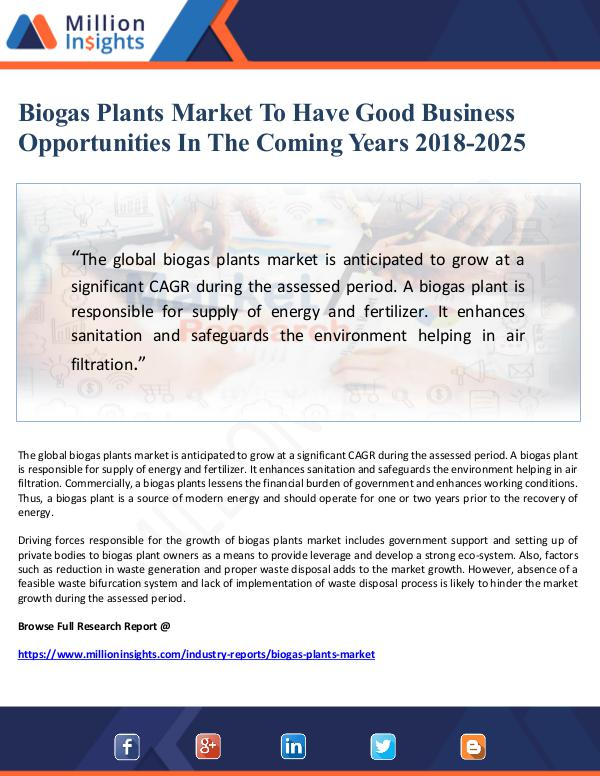Market Giant Biogas Plants Market To Have Good Business Opportu