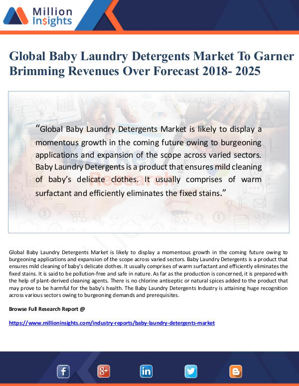Market Giant Global Baby Laundry Detergents Market To Garner Br