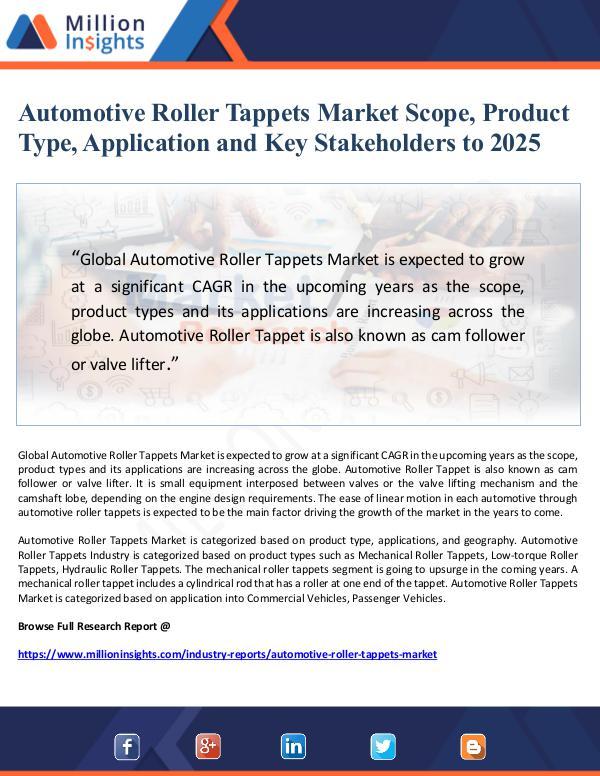 Market Giant Automotive Roller Tappets Market Scope, Product Ty