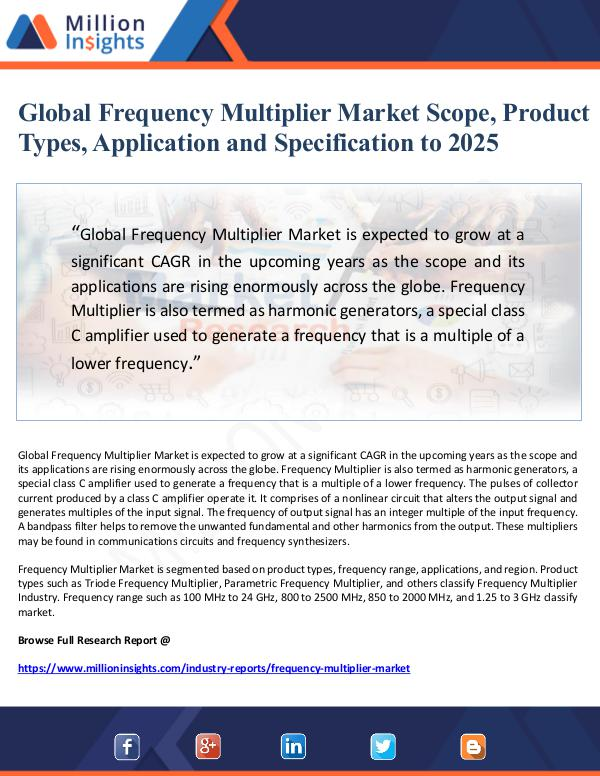 Market Giant Global Frequency Multiplier Market Scope, Product