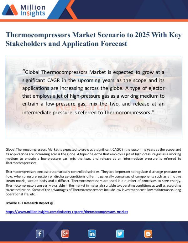 Market Giant Thermocompressors Market Scenario to 2025 With Key