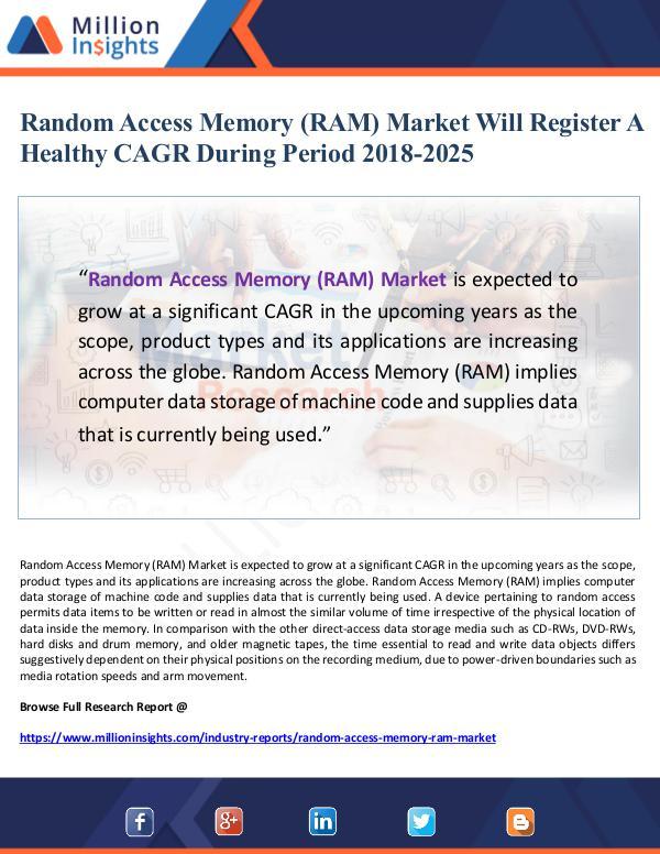 Market Giant Random Access Memory (RAM) Market Will Register A