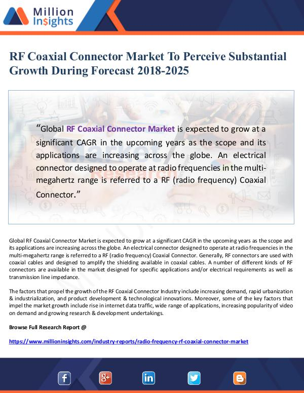 Market Giant RF Coaxial Connector Market To Perceive Substantia