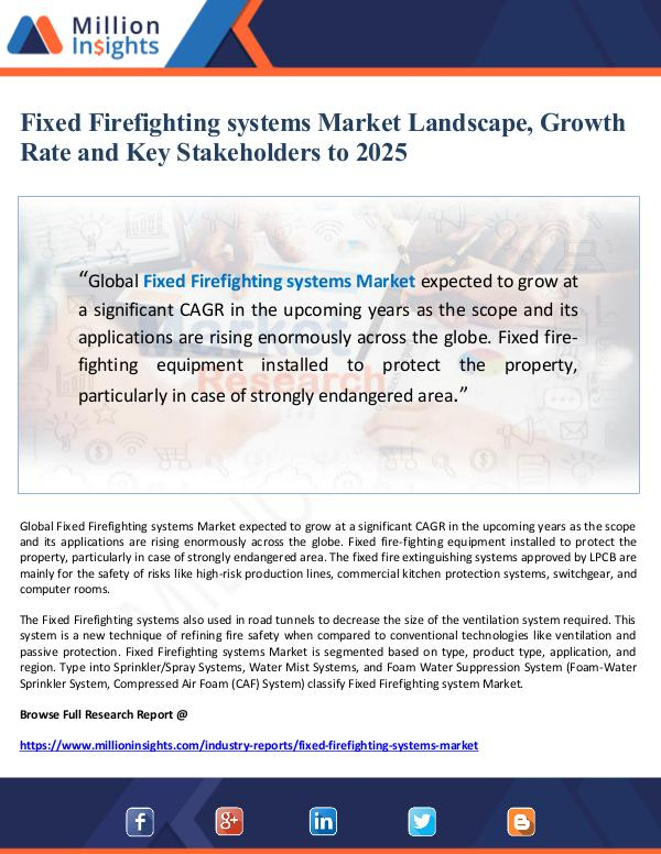 Global Research Fixed Firefighting systems Market Landscape, Growt